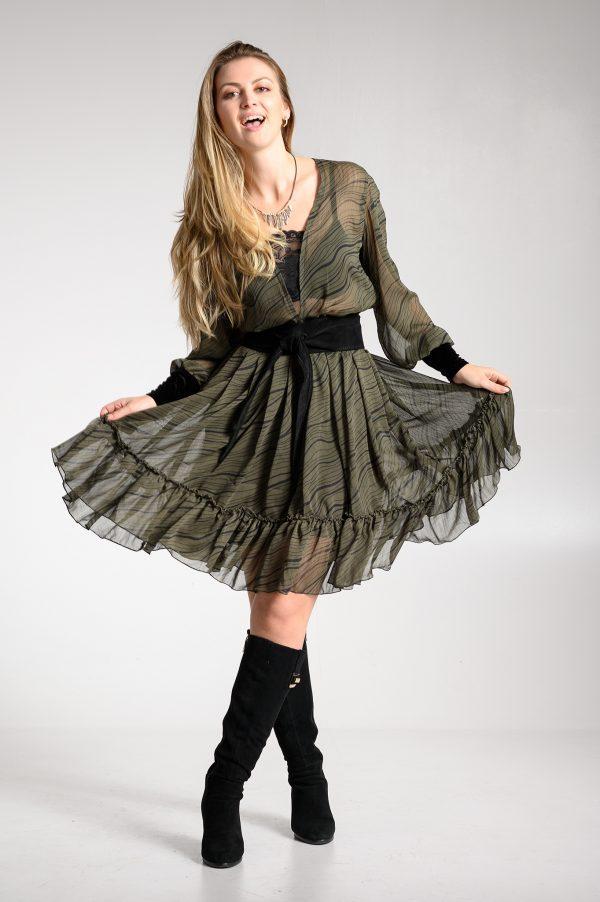Vestido Gasa Verde/Negra