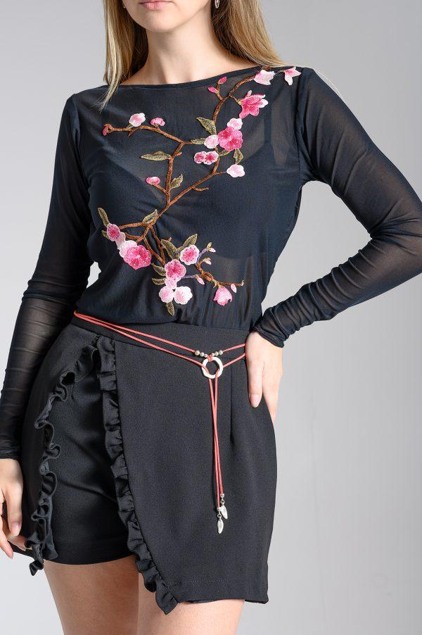 Top Transparente Negro/Flores
