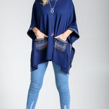 Jersey Bolsillos y Flecos Azul