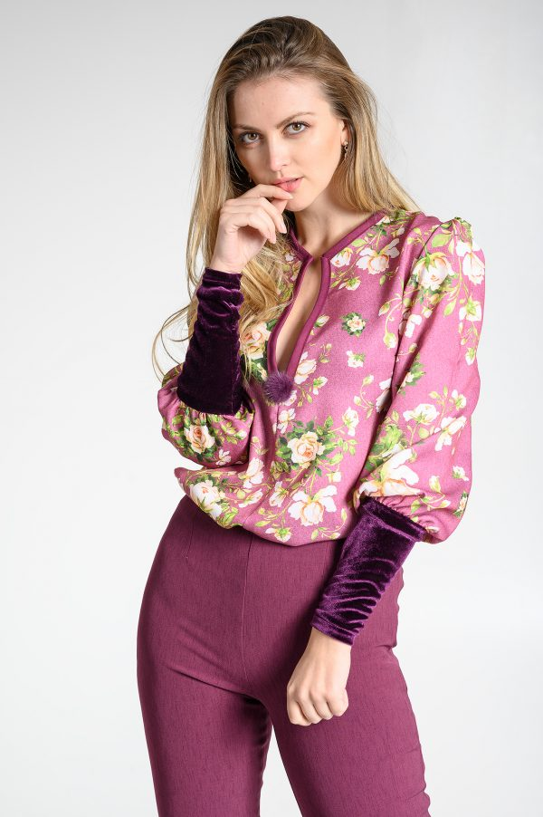 Blusa Flores y Terciopelo