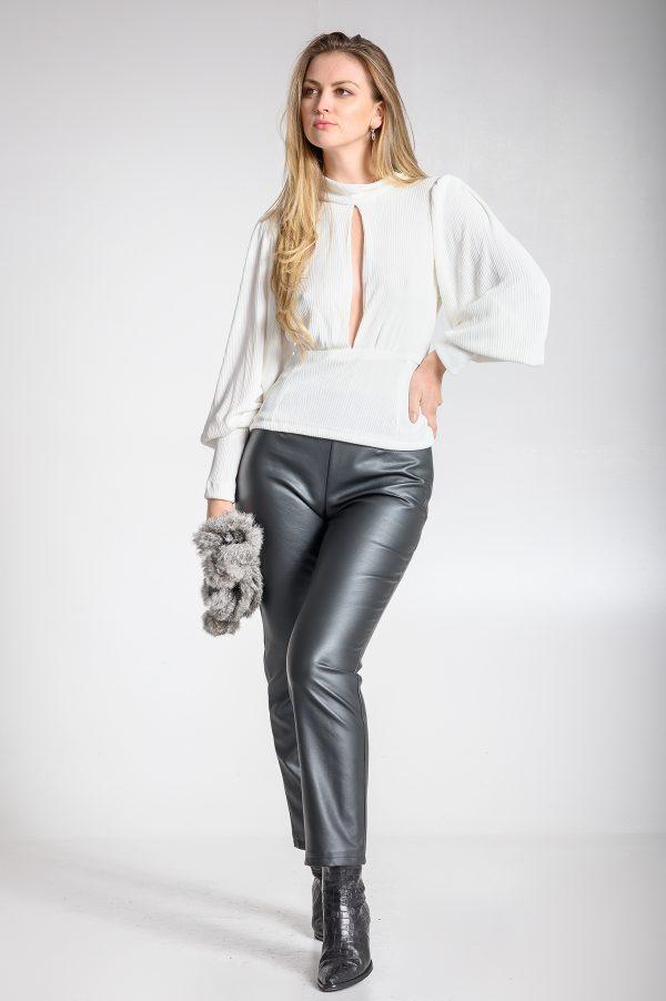 Pantalón Pitillo Cuero Negro